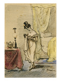 Young Lady at Home (Ink and W/C on Paper) 2:Jeune Fille Dans Un Interieur; Intimite; Giclee Print by Henri Bonaventure Monnier