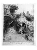 St. Jerome in an Italian Landscape, C.1653 (Etching) Giclée-Druck von  Rembrandt van Rijn