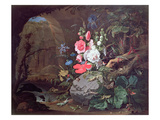 Flowers and Birds in a Cave Giclee Print by Abraham Mignon