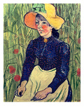 Young Peasant Girl in a Straw Hat Sitting in Front of a Wheatfield, 1890 Giclee Print by Vincent van Gogh