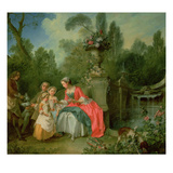 A Lady and a Gentleman in the Garden with Two Children c. 1742 Giclee Print by Nicolas Lancret