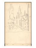 Rouen Cathedral Seen from Rue De L'Epicerie (Pencil on Paper) Giclée-tryk af Claude Monet