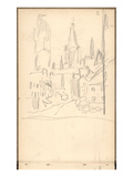 Rouen Cathedral Seen from Rue De L'Epicerie (Pencil on Paper) Giclee Print by Claude Monet