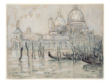 Venice Or, the Gondolas, 1908 (Black Chalk and W/C on Paper) Giclee Print by Paul Signac