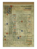 Calendar Page for October, from a Book of Hours, C.1550-60 (Vellum) Giclee Print by  Maitre des Heures de Claude Gouffier