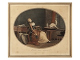 Pussy Watching (Colour Engraving) Giclee Print by Philibert Louis Debucourt