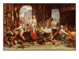 Kitchen Scene with the Parable of the Feast (Oil on Canvas) Giclee Print by Joachim Wtewael Or Utewael
