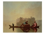 Fur Traders Descending the Missouri, 1845 (Oil on Canvas) Giclee Print by George Caleb Bingham
