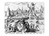 The Colossus of Rhodes (Engraving) Giclee Print by Maerten van Heemskerck
