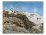 The Mischabe Horner from Saas-Fee, Valais, Switzerland (W/C with Gouache on Paper) Giclee Print by Edith A. Paine