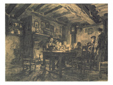 Family Supper in the Evening, 1883 (Charcoal on Paper) Giclee Print by Léon Augustin L'hermitte