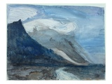 Moonlight, Chamonix, 1866 (W/C and Pencil on Paper) Giclee Print by John Ruskin