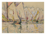 Departure of Tuna Boats at Groix (W/C on Paper) Giclee Print by Paul Signac