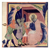 Historiated Initial 's' Depicting Job Receiving Messengers with Bad News (Vellum) Giclee Print by Jacopo Del Casentino