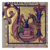 Historiated Initial 'U' Depicting Joseph Being Pulled from the Well by His Brothers, Tuscan School Giclee Print by  Italian