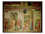 St.Lawrence Receiving the Treasures of the Church and St.Lawrence Distributing Alms Giclee Print by  Fra Angelico