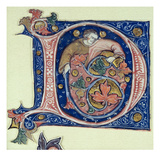 Historiated Initial 'D' Depicting a Man Holding a Vine (Vellum) Giclee Print by  French