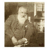 Claude Monet (1841-1926) with a Tanagra Statuette, Early 20th Century Giclee Print by  French Photographer