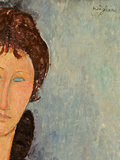 Woman with Blue Eyes, C.1918 (Oil on Canvas) (Detail of 96792) Giclee Print by Amedeo Modigliani