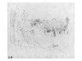 At the Bois De Boulogne, 1888 (Black Lead on Paper) Giclee Print by Berthe Morisot