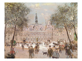 Place De L'Hotel-De-Ville, Paris (Oil on Canvas) Giclee Print by Jean Francois Raffaelli