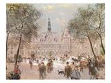 Place De L'Hotel-De-Ville, Paris Giclee Print by Jean Francois Raffaelli