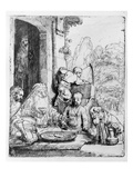 Abraham Entertaining the Angels, 1656 (Etching) Lámina giclée por  Rembrandt van Rijn