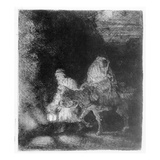 The Flight into Egypt, 1651 (Etching) Giclee Print by Rembrandt van Rijn