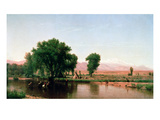 Crossing the Ford, Platte River, Colorado (Oil on Canvas) Giclee Print by Thomas Worthington Whittredge