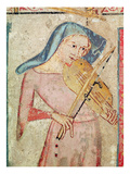 The Female Saints at the Tomb and the Resurrection, Detail of the Violin Player, 1330 (Fresco) Giclee Print by Juan Oliver