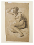 Seated Female Nude, 1847 (Black and White Chalk on Brown Paper) Giclée-tryk af John Everett Millais