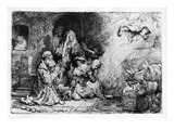 The Angel Departing the Family of Tobias, 1641 (Etching) Giclee Print by  Rembrandt van Rijn