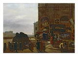 Selling Paintings Outside the Institut De France, 1837 (Oil on Canvas) Giclee Print by Guillaume Frederic Ronmy