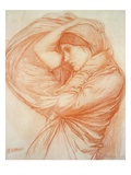 Study for 'Boreas' (Red Chalk on Tinted Paper) Giclee Print by John William Waterhouse