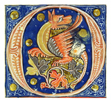 Historiated Initial 'O' Depicting a Winged Griffin (Vellum) Giclee Print by  French
