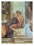 Ignudo from the Sistine Ceiling (Pre Restoration) Giclee Print by  Michelangelo Buonarroti