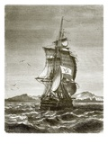 The Austrian Frigate, 'Novara' Off the Island of St. Paul Giclee Print by  English