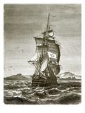 The Austrian Frigate, 'Novara' Off the Island of St. Paul Giclee Print by  English