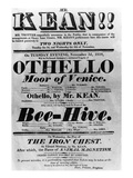 Theatre Bill Advertising Perfomances of Mr. Kean, 1818 (Printed Paper) Giclee Print by  English