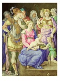The Virgin and Child, St. John the Baptist and Seven Individuals, C.1553 (Vellum) Giclee Print by Giorgio Giulio Clovio