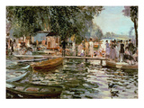 La Grenouillere, 1869 (Oil on Canvas) Reproduction procédé giclée par Pierre Auguste Renoir