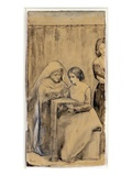 Study for the Girlhood of Virgin Mary (Pen and Ink and Pencil with Wash on Paper) Giclee Print by Dante Gabriel Rossetti