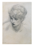 Study of a Girl's Head (Pencil on Paper) (See also 198345) Giclee Print by Edward Burne-Jones