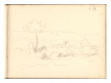 Antibes Seen from the Plateau of La Garoupe (Pencil on Paper) Giclee Print by Claude Monet