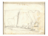 Clipper of Argenteuil Tacking (Pencil on Paper) Giclee Print by Claude Monet