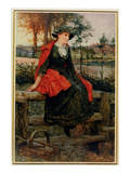 The Red Cape, 1883 (Oil on Canvas) Giclee Print by Edward Killingworth Johnson