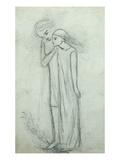 Idea for 'La Belle Dame Sans Merci' (Pencil on Paper) (See also 200314) Premium Giclée-tryk af Elizabeth Eleanor Siddal
