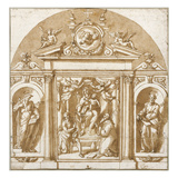 Virgin and Saints (Pen and Ink on Paper) Giclée-Druck von Giorgio Vasari