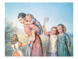 A Mother with Her Children, 1870 Giclee Print by Agnes Nicholl