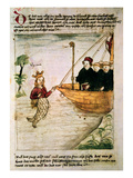 St. Brendan and a Siren, from the German Translation of 'Navigatio Sancti Brendani Abbatis', C.1476 Giclee Print by  German